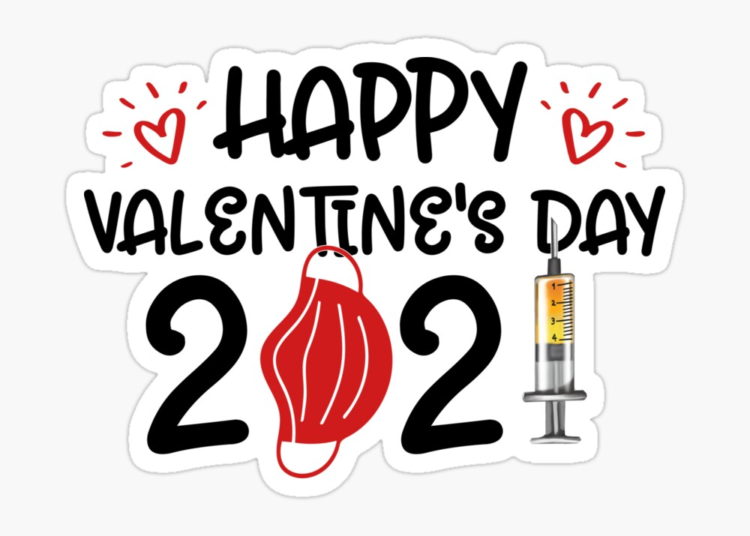 Happy Valentines Day 2021 Quarantined Social Distance With Hearts Mask Injections Vaccinations By Victorialiner | Redbubble