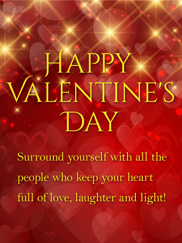 Laughter And Light - Shining Happy Valentine'S Day Card | Birthday &Amp; Greeting Cards By Davia