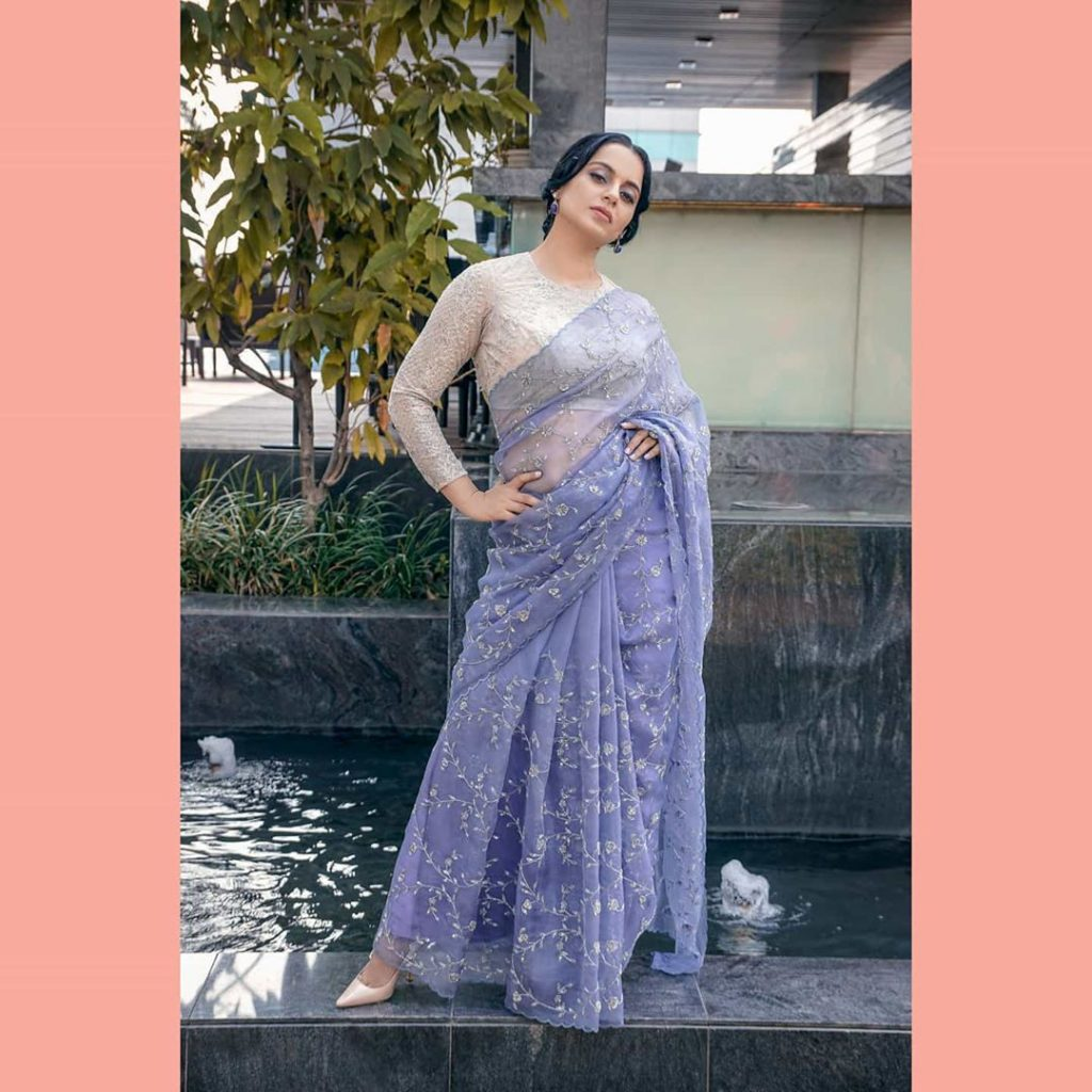 nails the perfect Saree look in this gorgeous  outfit for t