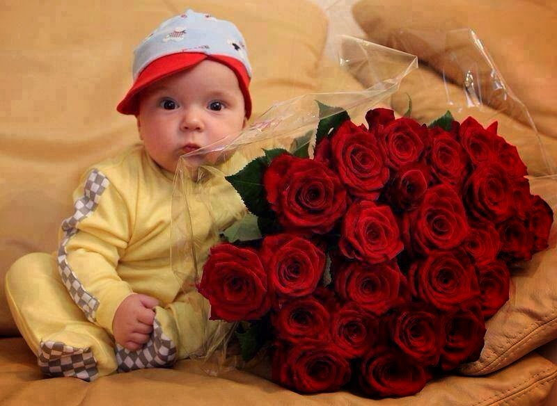 nice baby with red rose