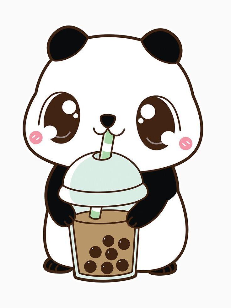 'Boba Panda With Classic Milk Tea - White' T-Shirt By Dragnloc