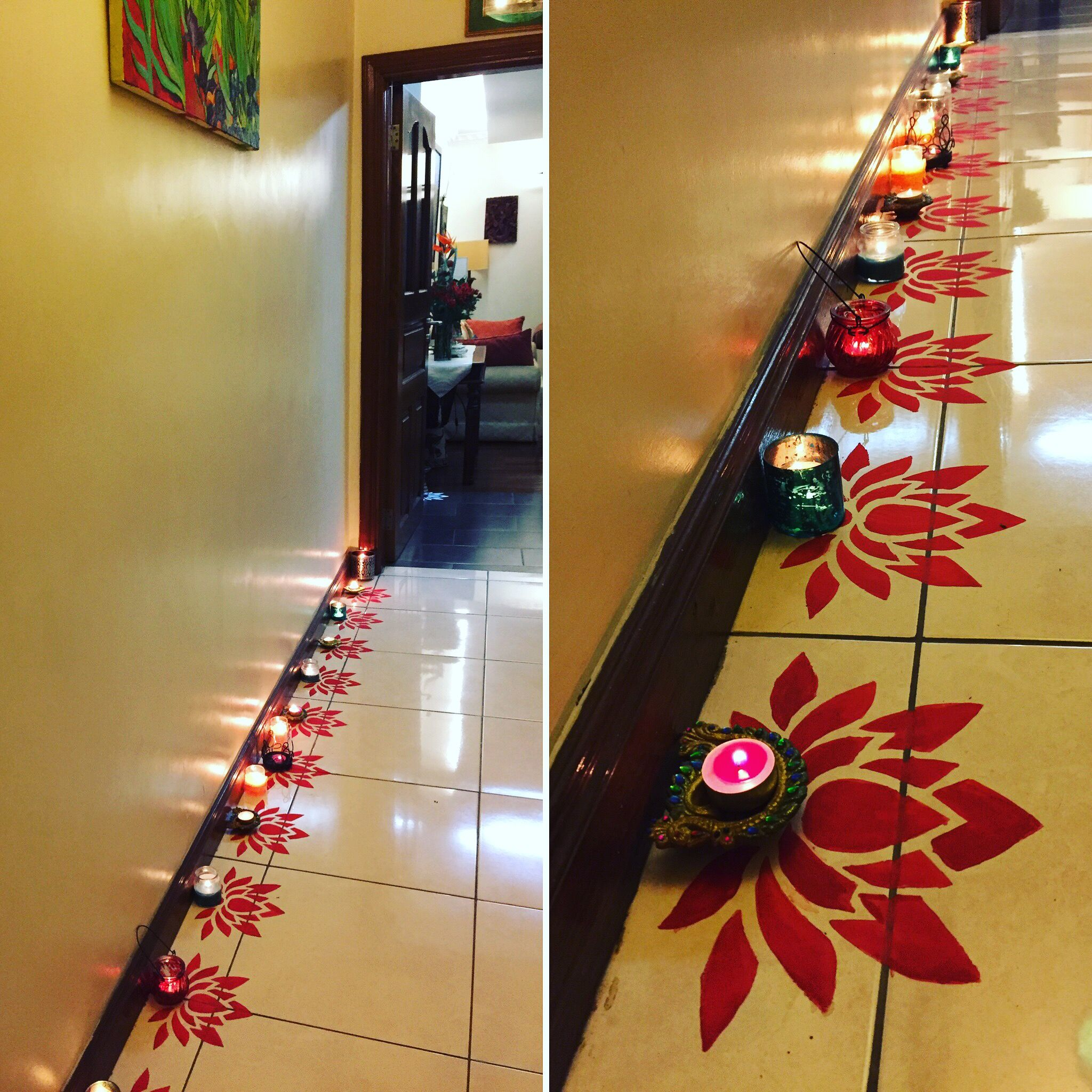 Diy Diwali Rangoli Design Using A Paper Cut Out And Poster Colours!! Find A Tutorial Like This On Www.villamarigold.... Rangoli, Indiandecor, Indianfestival, Festival Of Lights, Lamps, Diwali Decor Id...