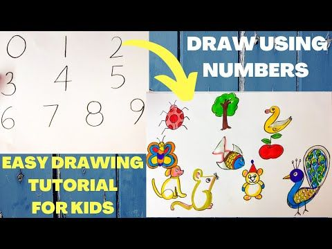 Learn To Draw Animals With Numbers From 0 To 9 | Easy Drawing For Kids | Draw Using Numbers