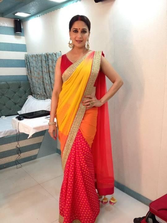 Madhuri Dixit In Yellow Red Saree Pictures 1080P Hd Download