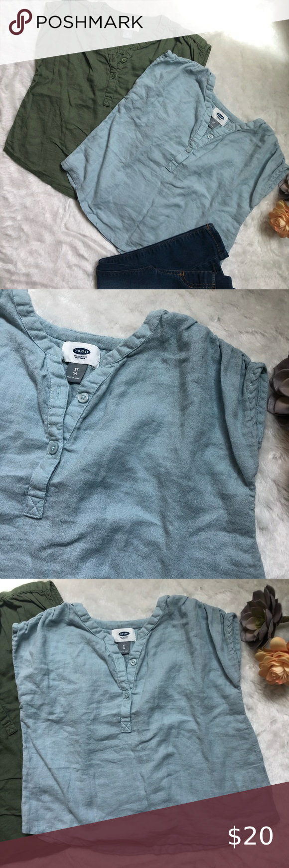 Old Navy Blouses Old Navy Blouses Size 5T Two Adorable Little Girls Tops Olive. Army Green. Light Blue Two Top Buttons Loose And Flowy So Cute With Skinny Jeans Old Navy Shirts &Amp; Tops Blouses