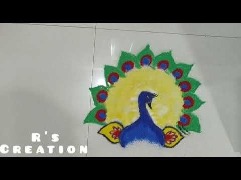 Peacock Rangoli Design For Diwali2020/ Beautiful Rangoli/Easy Rangoli/R'S Creation