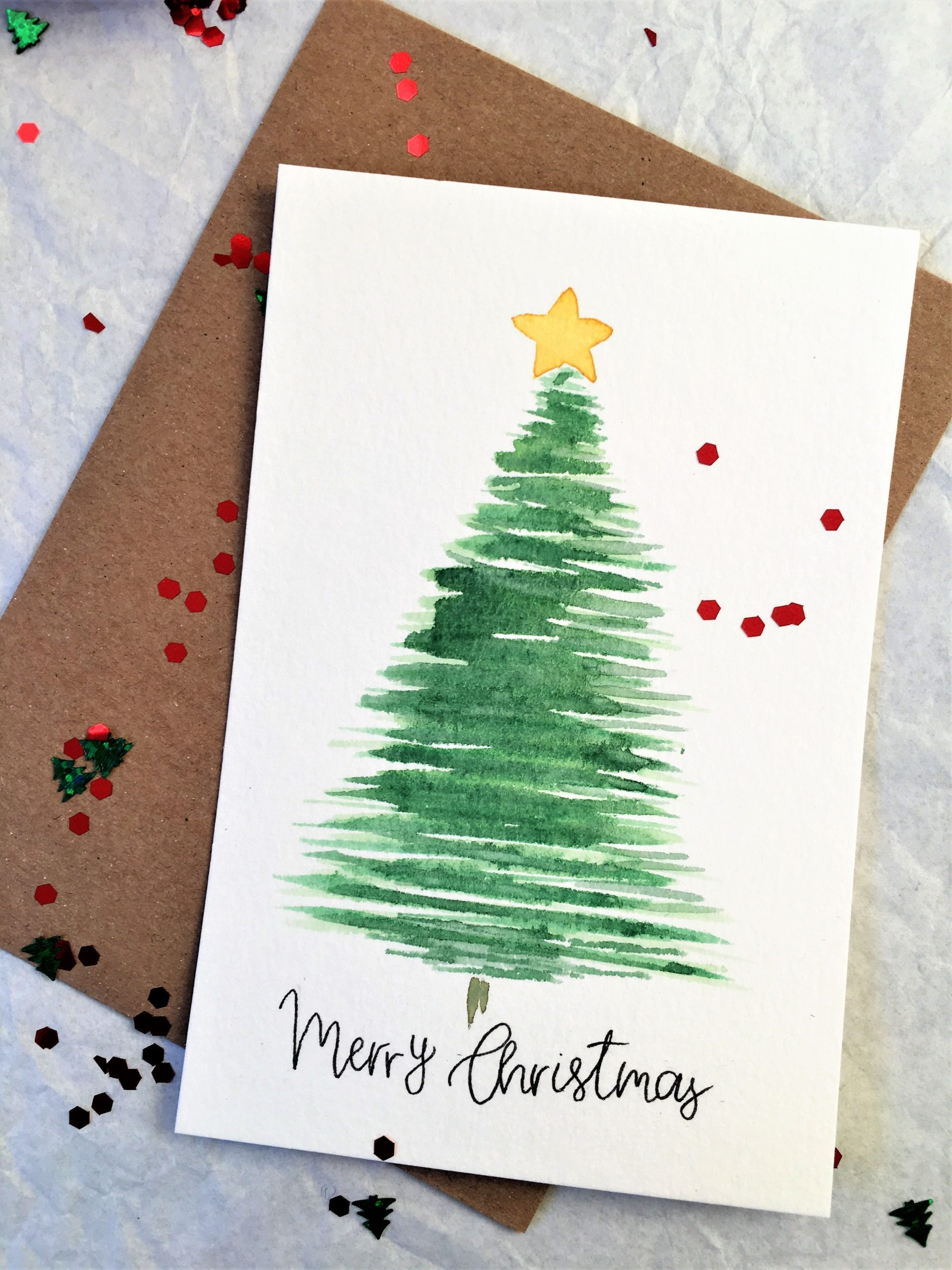 Set Of 5 Cards Merry Christmas Greeting Card Handmade Card Watercolor Christmas Tree Card Traditional Simple Minimalist Christmas Card 6x4 2021
