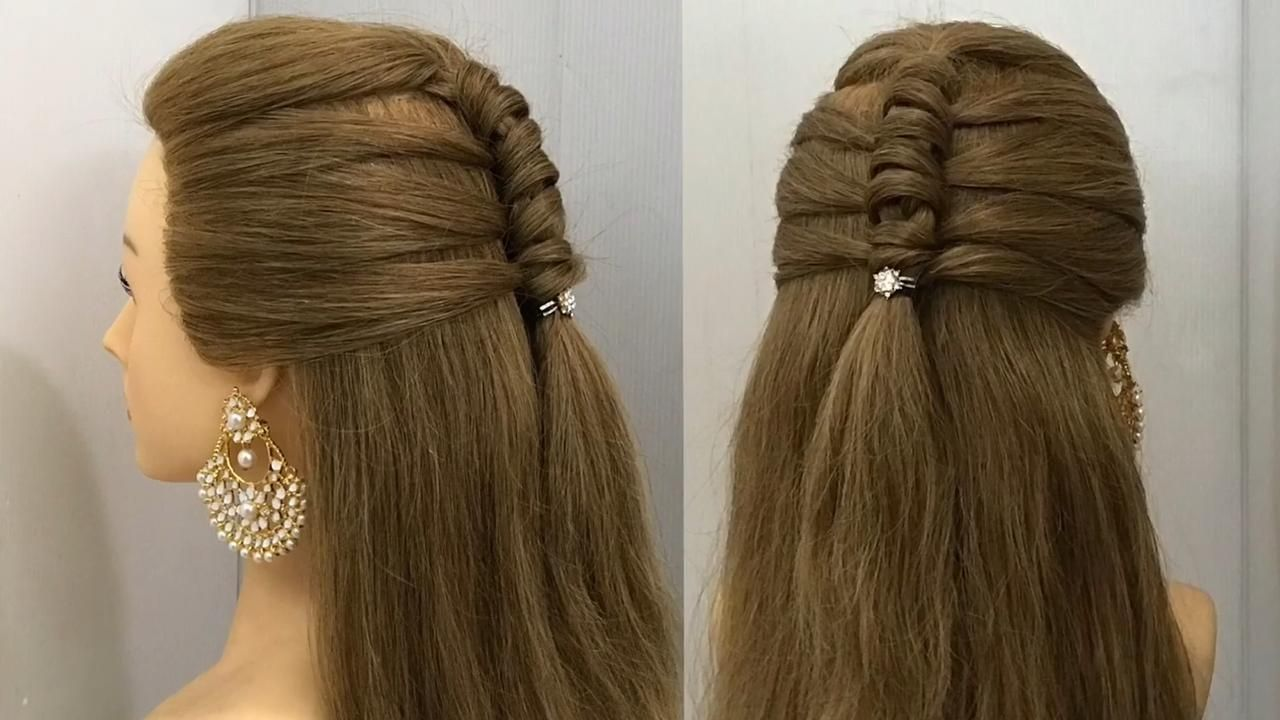Beautiful Half Up Hairstyle For Wedding Or Party Easy Hairstyles Open Hair Style 2021