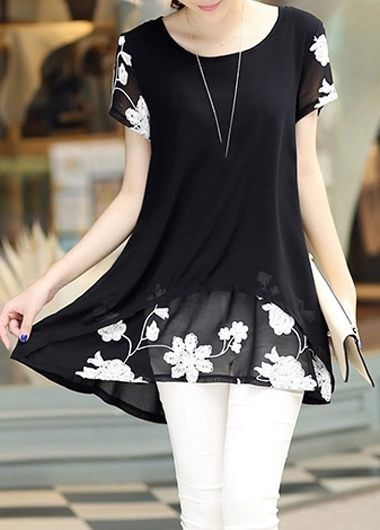 Embroidered Black Short Sleeve Layered Blouse on sale only US.85 now, buy cheap Embroidered Black Short Sleeve Layered Blouse