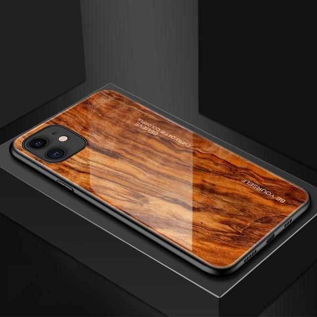 Luxury Wood Grain Phone Case For iPhone XS Max XR X Soft TPU Edge Slim Glass Cover Case for iPhone XS MAX XR 11 Pro Coque Shell