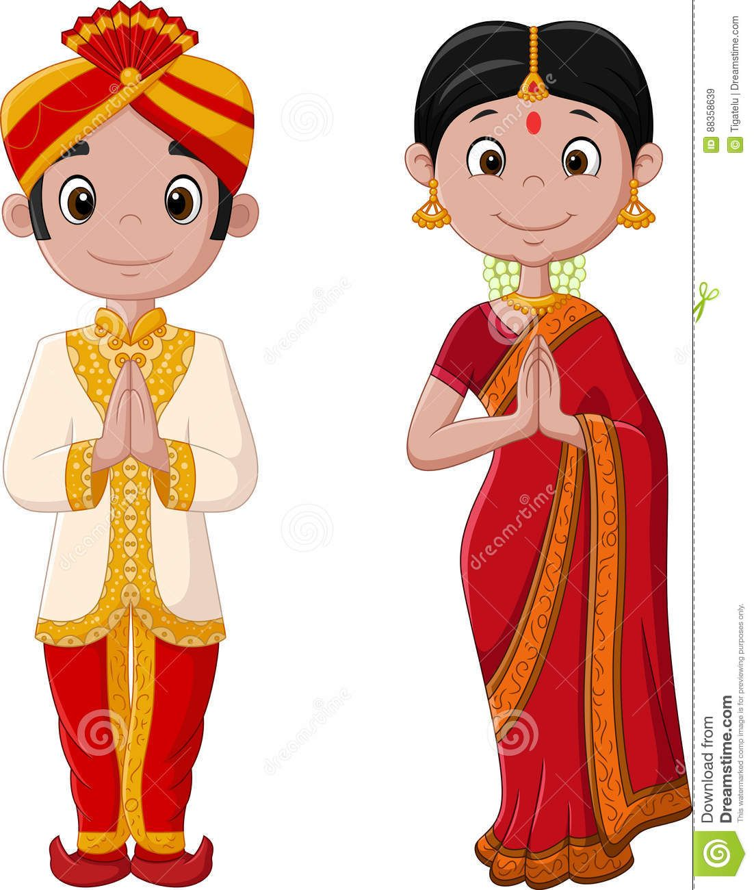 Cartoon Indian Couple Wearing Traditional Costume Stock Vector - Illustration Of Cartoon, Culture: 88358639