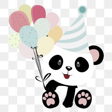 Cute And Pandas With Balloons For Birthdays, Cute, Lovely, Panda Png Transparent Clipart Image And Psd File For Free Download
