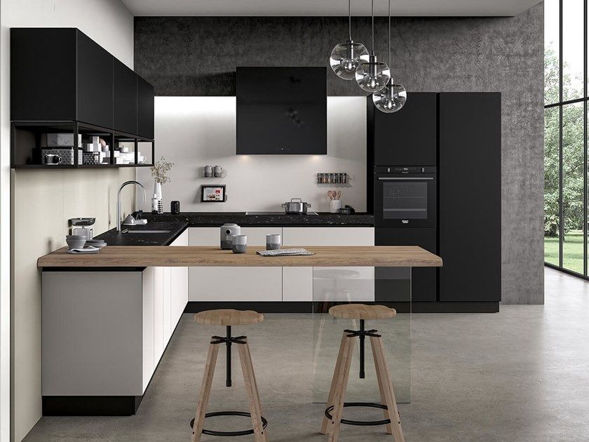 Fitted Kitchen With Peninsula Glass   Kitchen With Peninsula By Arredo 3