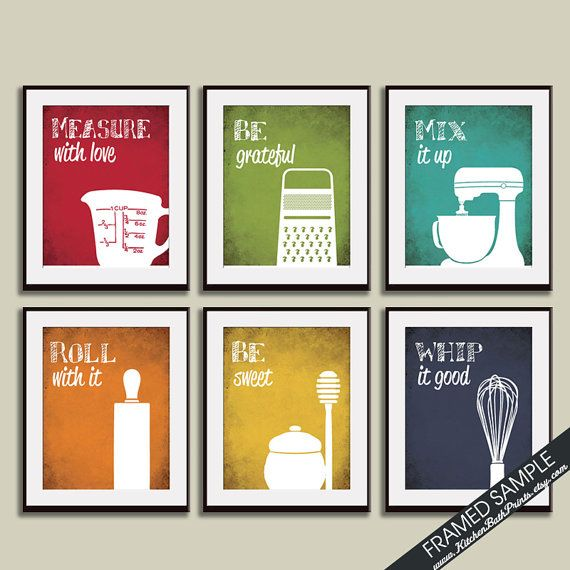 Funny Kitchen Art Print Set Measuring Cup Grater Mixer   Etsy