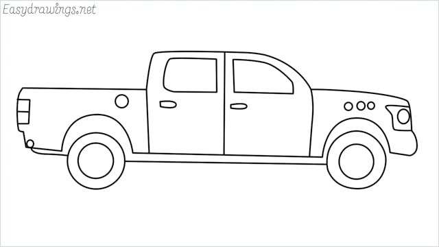 How To Draw A Pickup Truck Step By Step For Beginners