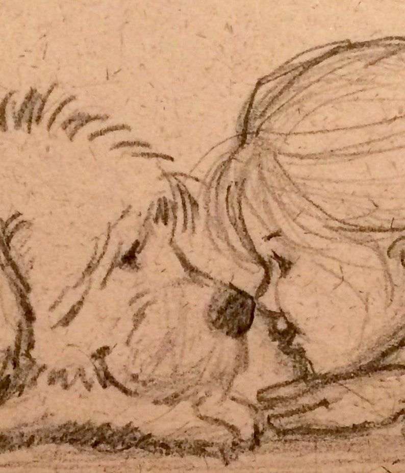 Little Girl And Her Dog - Nose To Nose - Pencil Sketch On Aged Handmade Seed Paper