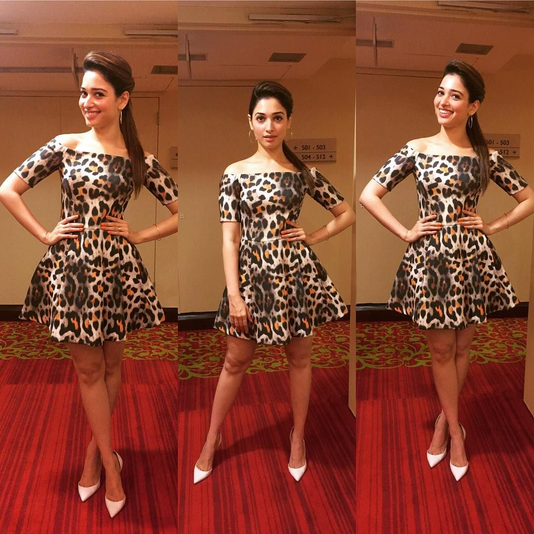 See How Spectacular Tamanna Bhatia Is Looking In H&Amp;M Off Shoulder Dress &Amp; Louboutin Pumps...... ~ S...