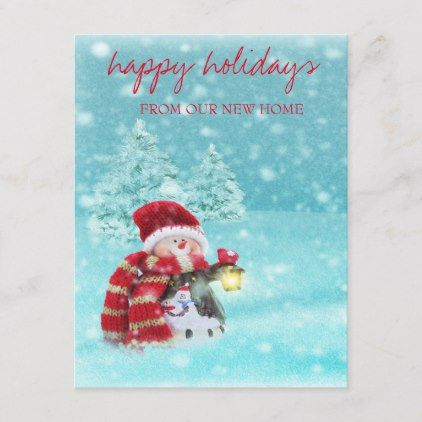 We Have Moved,Christmas Tree,Snowman Holiday Announcement Postcard
