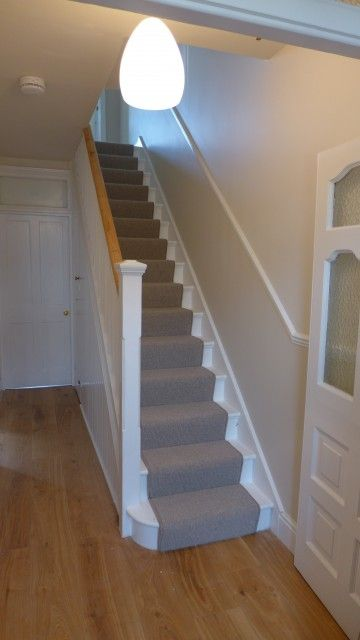 Neutral Stair Carpet Runner With Engineered Oak Hall