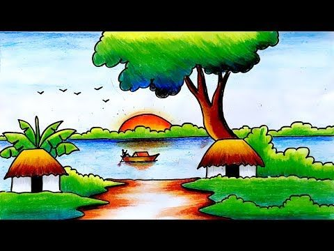 Easy Scenery Drawing For Kids-Scenery For Kids-Step By Step