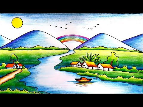 Easy Scenery Drawing For Kids-Step By Step