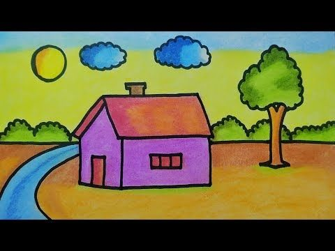 Easy Landscape Drawing For Kids | House And Nature Painting