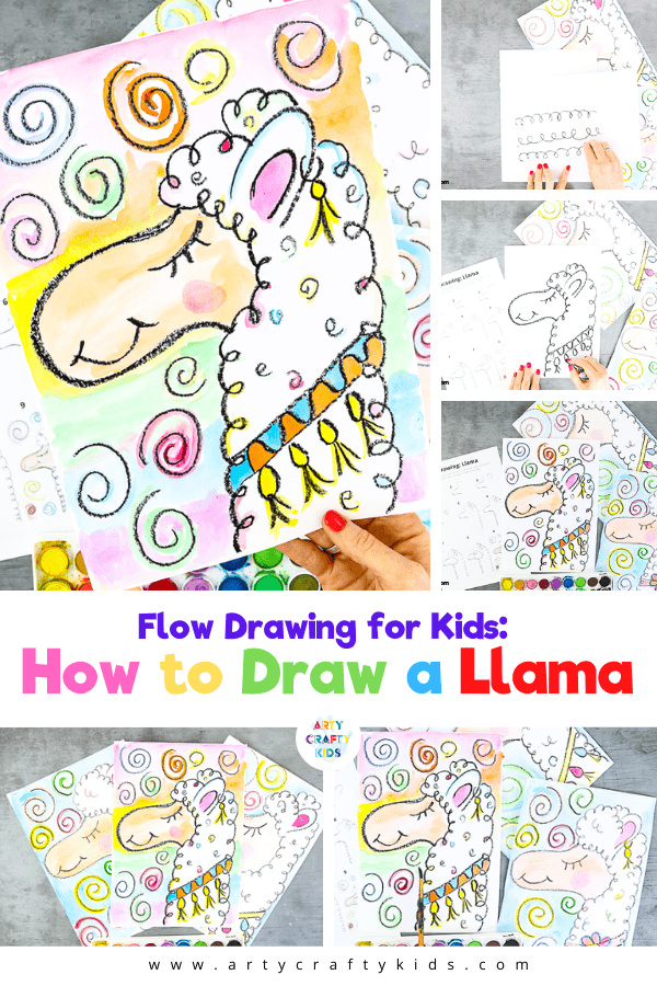 Flow Drawing For Kids: How To Draw A Llama