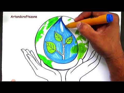How To Draw Save Water / Save Earth / Save Nature Poster Drawing For Kids