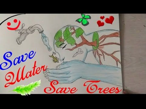 How To Draw Save Water Drawing Step By Step || Save Trees Coloring Drawing For Kids ||