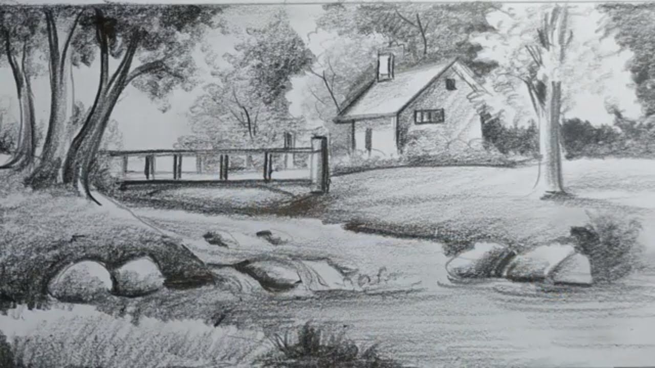 Easy Pencil Shading Scenery Drawing For Kids,Landscape Scenery Drawing,Village Scenery Drawing