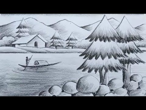 How To Draw Pencil Sketch Scenery Drawing For Kids,Landscape Pahar And River Side Scenery Drawing,
