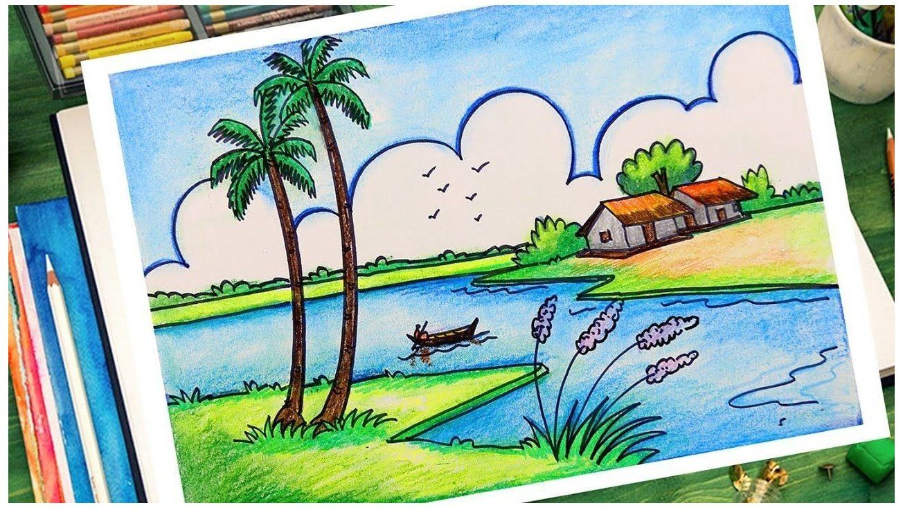 Scenery Drawing For Kids Wall Murals