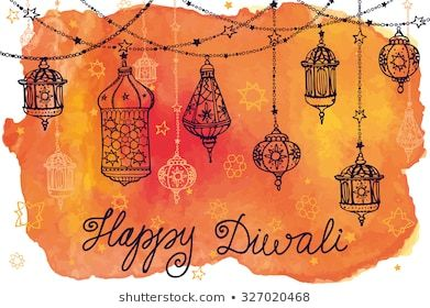 Happy Diwali Festival India Traditional Hanging Lampdoodle Watercolor Stock Vector Wallpapers