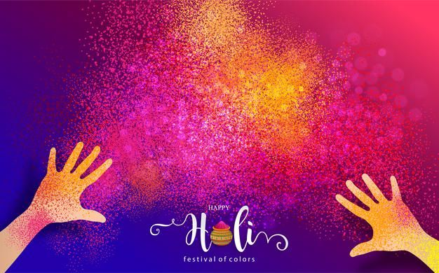Download Colorful Gulaal Powder Color Indian Festival For Happy Holi Card With Gold Patterned And Crystals On Paper Color for free