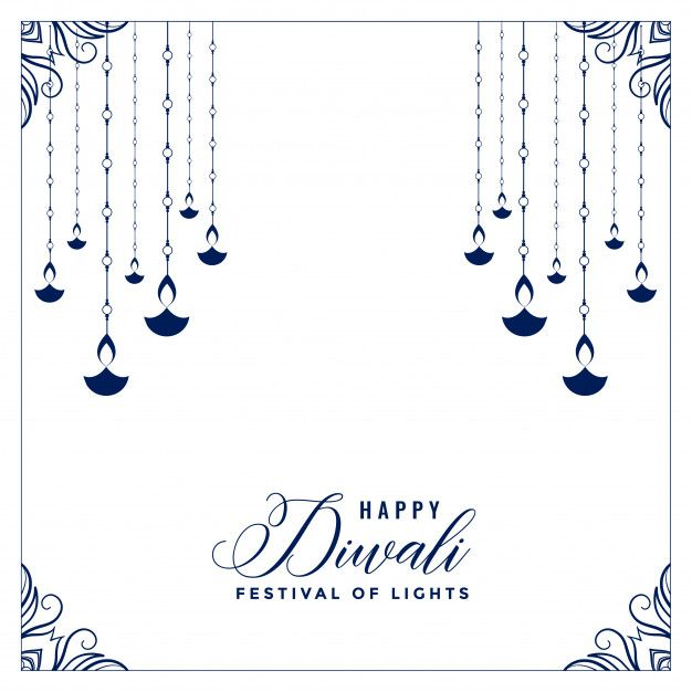 Download Flat Style Happy Diwali Poster With Hanging Diya For Free