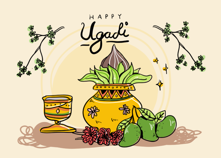 Download Ugadi Background Hand Drawn Vector Illustration For Free