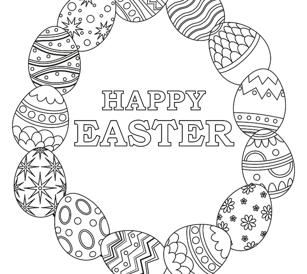 Easter Coloring Pages | Egg Wreath With Happy Easter Message