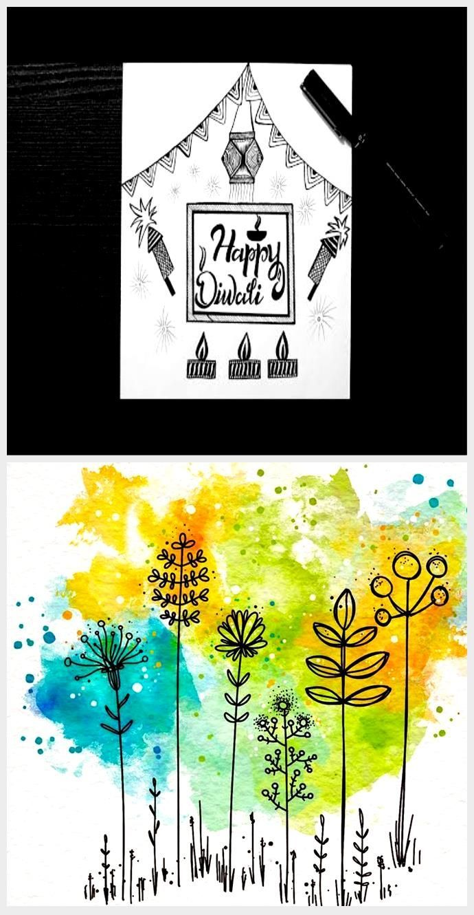 Happy Diwali Drawing Easy    Diwali Celebration Drawing    Doodle Art    How To ...