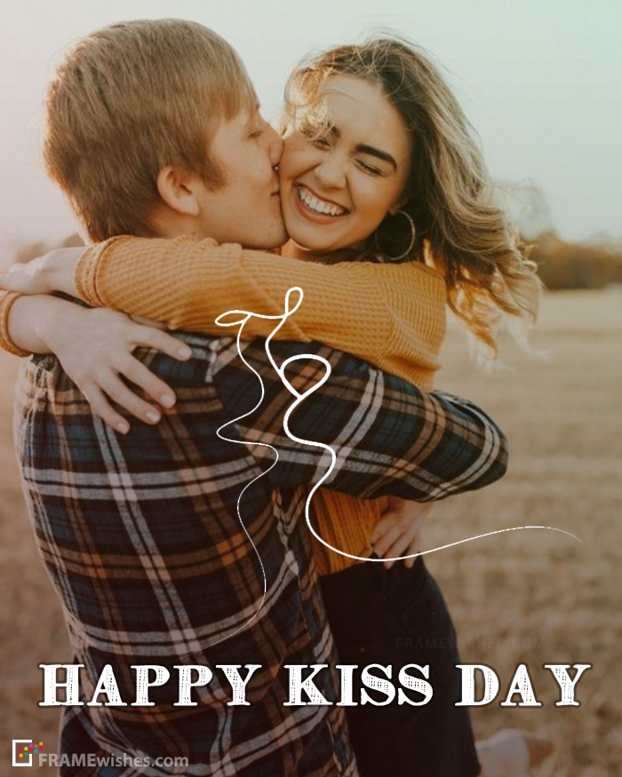 Happy Kiss Day Photo Frame For Lovers