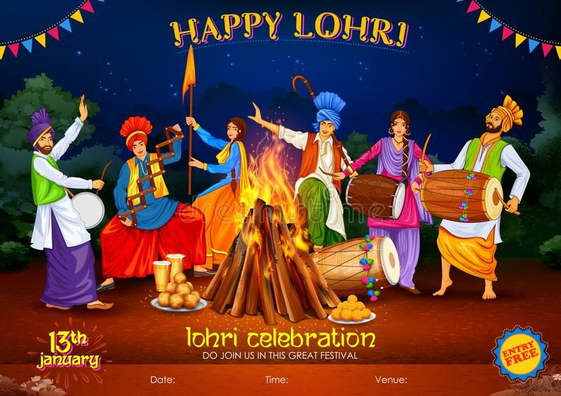 Happy Lohri Background For Punjabi Festival Stock Images