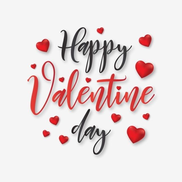Happy Valentine Day Typography With Hearts Vector, Valentine, Fancy, Valentines Png And Vector With Transparent Background For Free Download