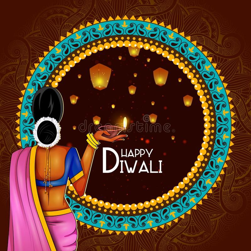 Illustration Of Lady Holding Decorated Diya For Happy Diwali Holiday Background Stock Vector - Illustration Of Dipavali, India: 129054796