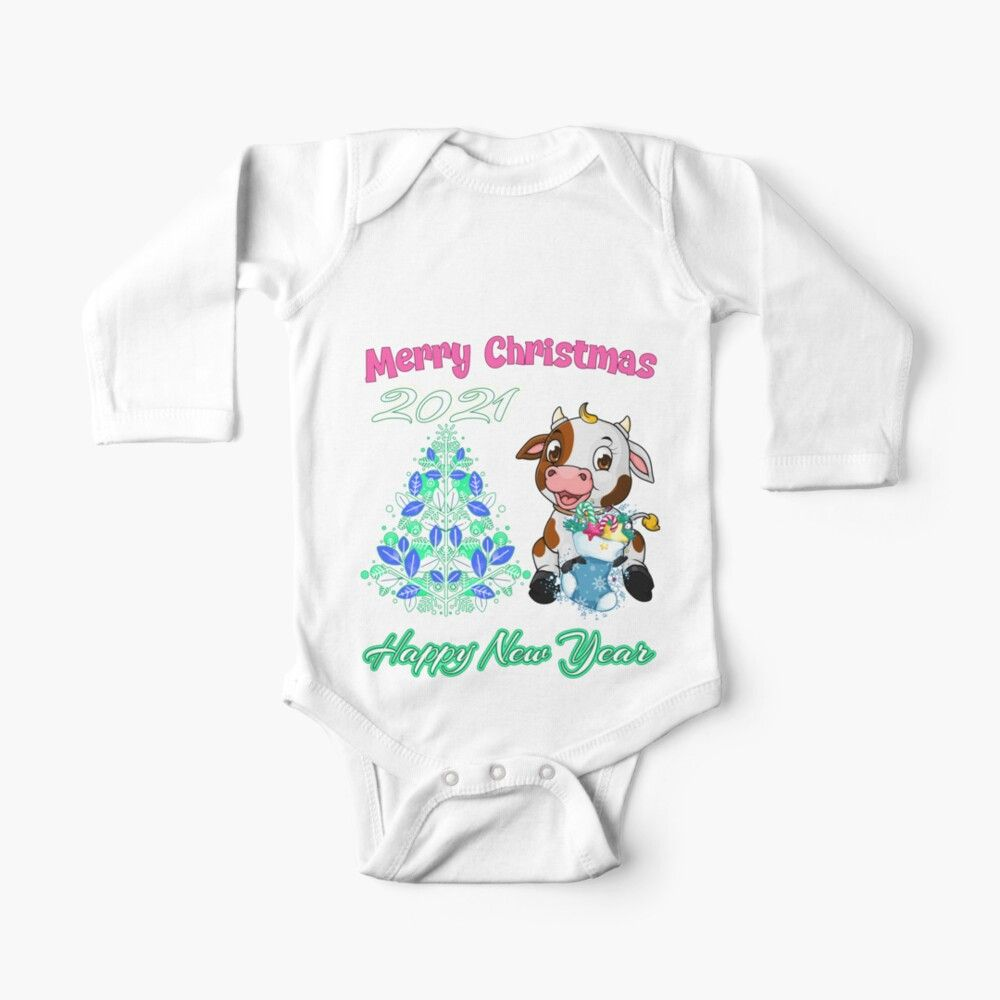 'Ox Baby And Christmas Tree-Merry Christmas -Happy New Year 2021' Kids Clothes By Krasistaleva