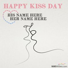 Romantic Kiss Day Wishes With Couple Names