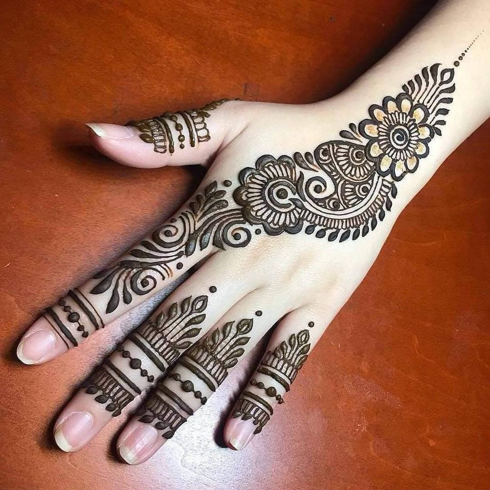 Stylish Arabic Mehndi Designs For Back Hand