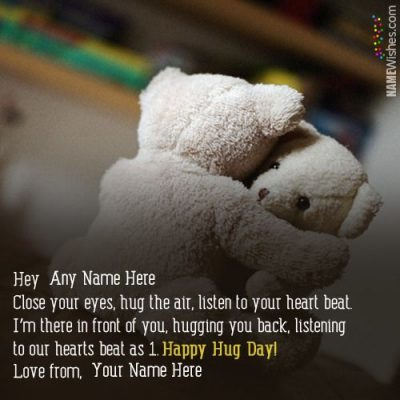 Cutest Hug Day Wishes With Couple Names